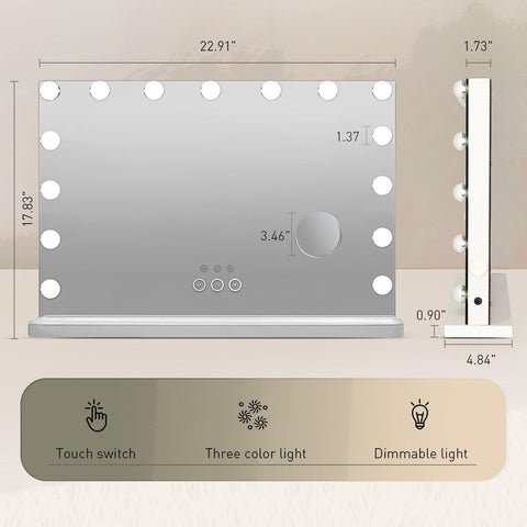 PULUOMIS Large Makeup Vanity Mirror Hollywood Lighted Mirror 3 Color Lighting Modes, Bluetooth Speaker 15pcs Dimmable LED Bulbs For Tabletop Mirror & Wall Mounted, Smart Touch Control USB Outlet