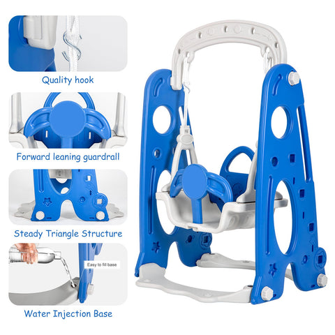 SOLIDEE 4 In 1 Toddler Climber And Swing Set, Kids Swing & Slide Playset With Basketball Hoop, Outdoor / Indoor Play Equipment For Kids