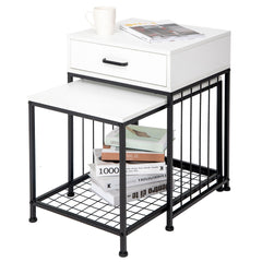 ARTETHYS Set Of 2 Nesting Tables, Coffee Table And End Table Sets, Side Coffee Table Set W/Metal Frame & Storage Drawer & Protective Foot Pads