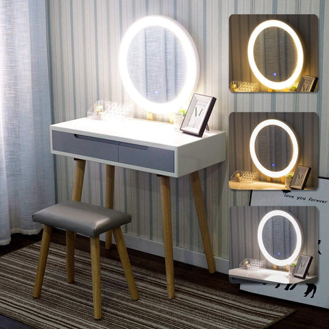 ARTETHYS Round Dressing Table with Light Mirror and Vanity Bench Stool and Makeup Organizer, Adjustable Light Brightness