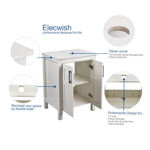 PULUOMIS 24 Inches Bathroom Vanity, Modern Stand Pedestal Cabinet, Wood White Fixture With Mirror & 2 Doors