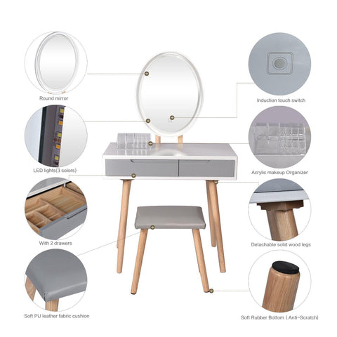 ARTETHYS Vanity Table Set With Adjustable Brightness Mirror And Cushioned Stool, Dressing Table Vanity Makeup Table With Free Make-Up Organizer