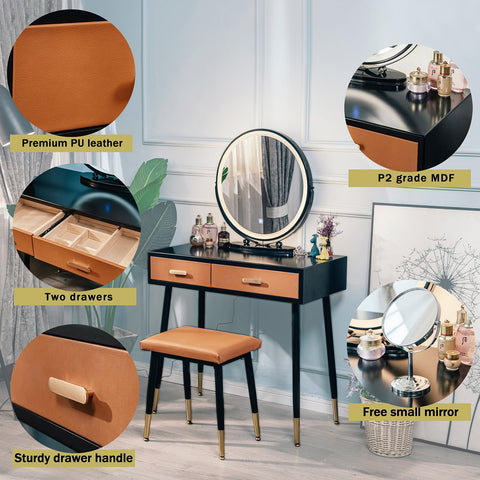 ARTETHYS Makeup Vanity Table Set With 3 Modes Adjustable Lighted Mirror Cushioned Stool,Orange PU Leather Dressing Table