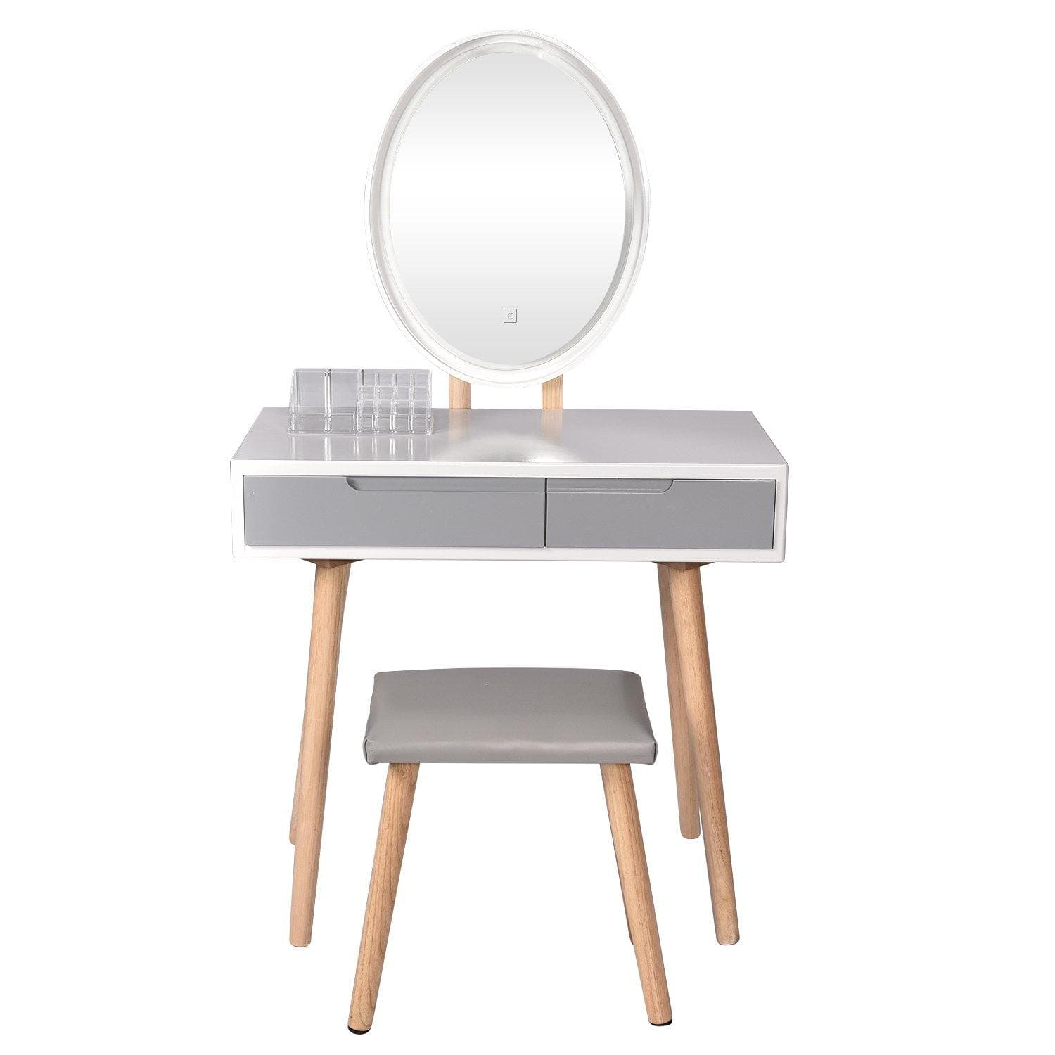 Vanity Table Set With Brightness Mirror (Grey)