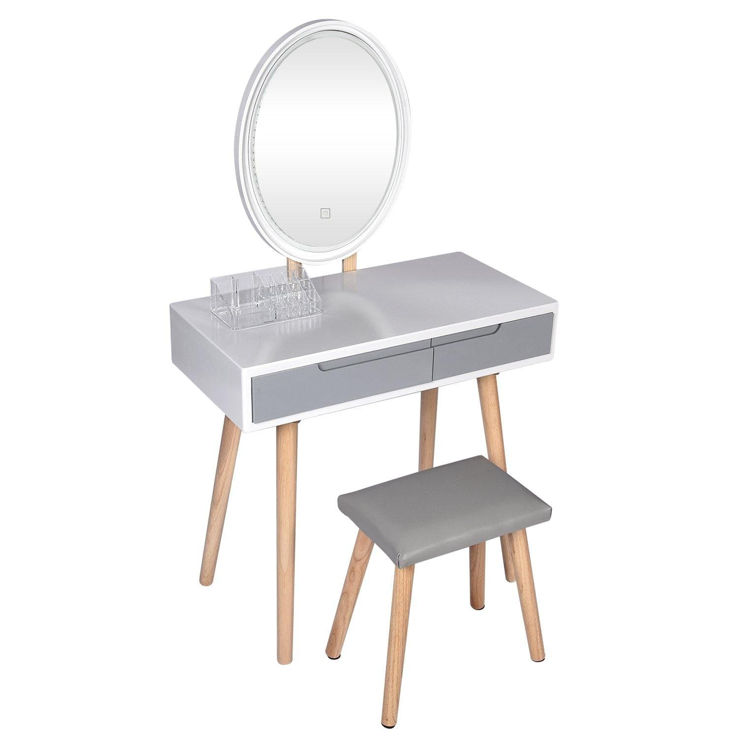 YOURLITE Vanity Table Set With Brightness Mirror (Grey)