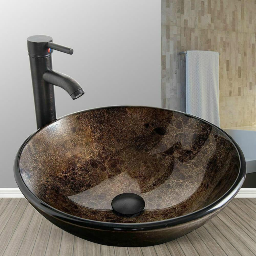 PULUOMIS  Artistic Round Bathroom Vessel Sink with Faucet and  Pop up Drain, Windshield Tempered Glass