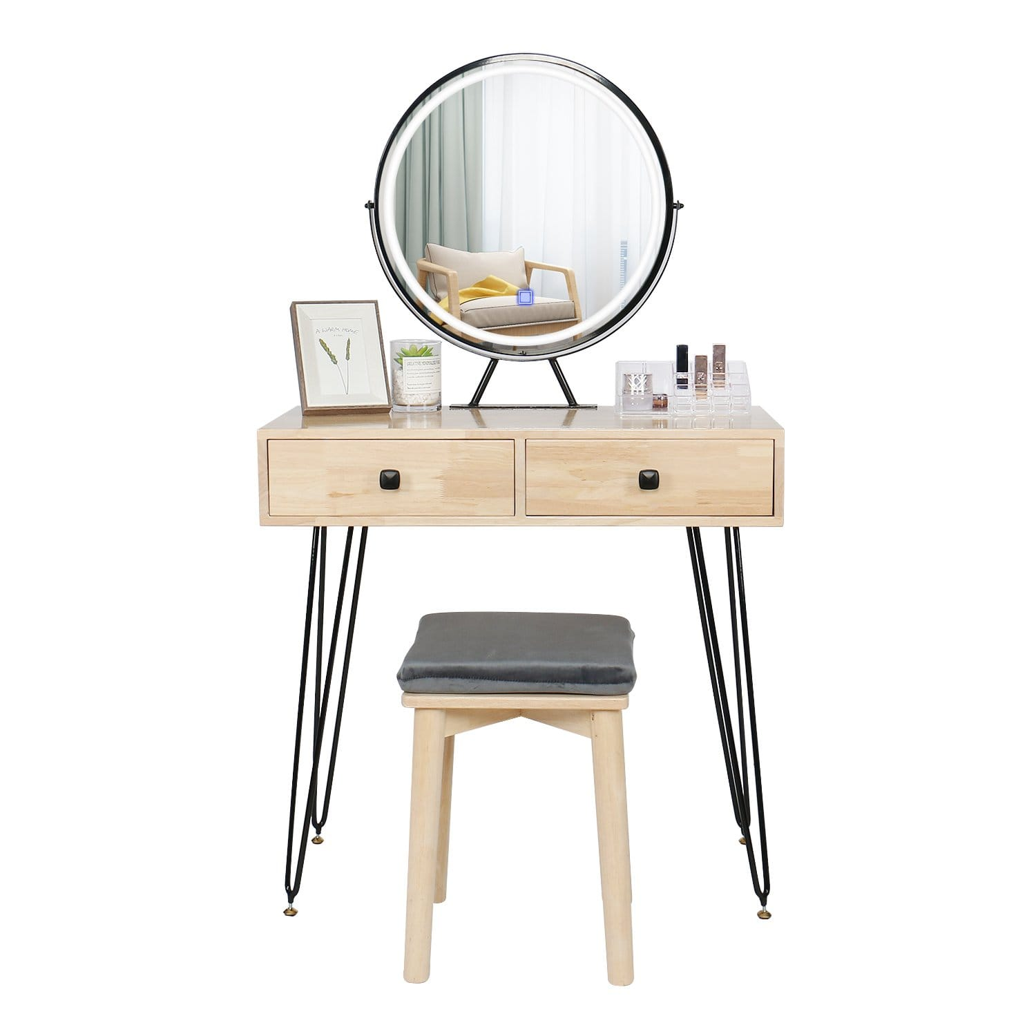 YOURLITE Vanity Table Set With Touch Screen Mirror (Iron Art)