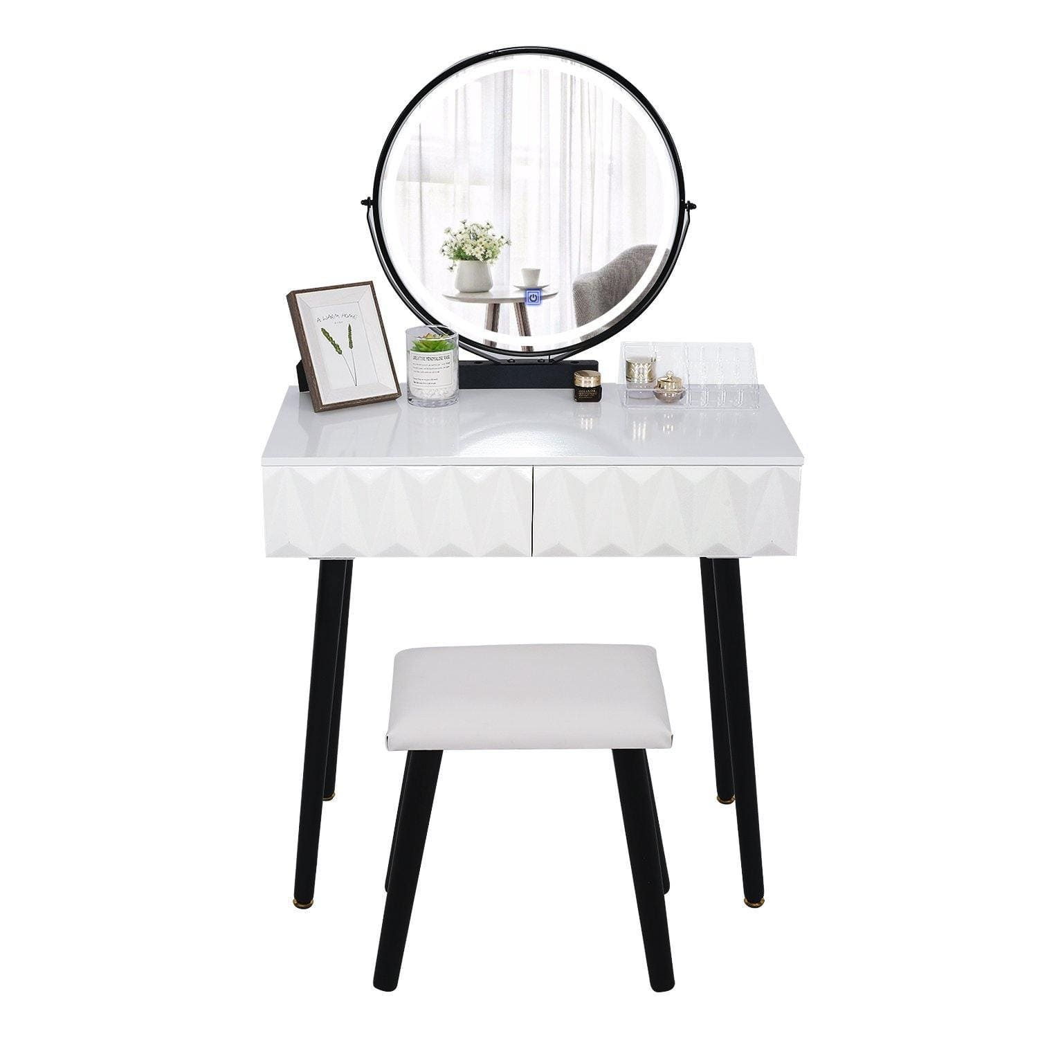 YOURLITE Vanity Table Set With Adjustable Brightness Mirror(White)