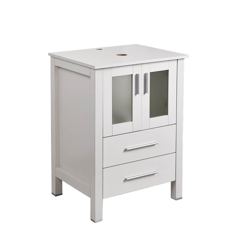 PULUOMIS  White Double-door And Double-drawer Vanity Set