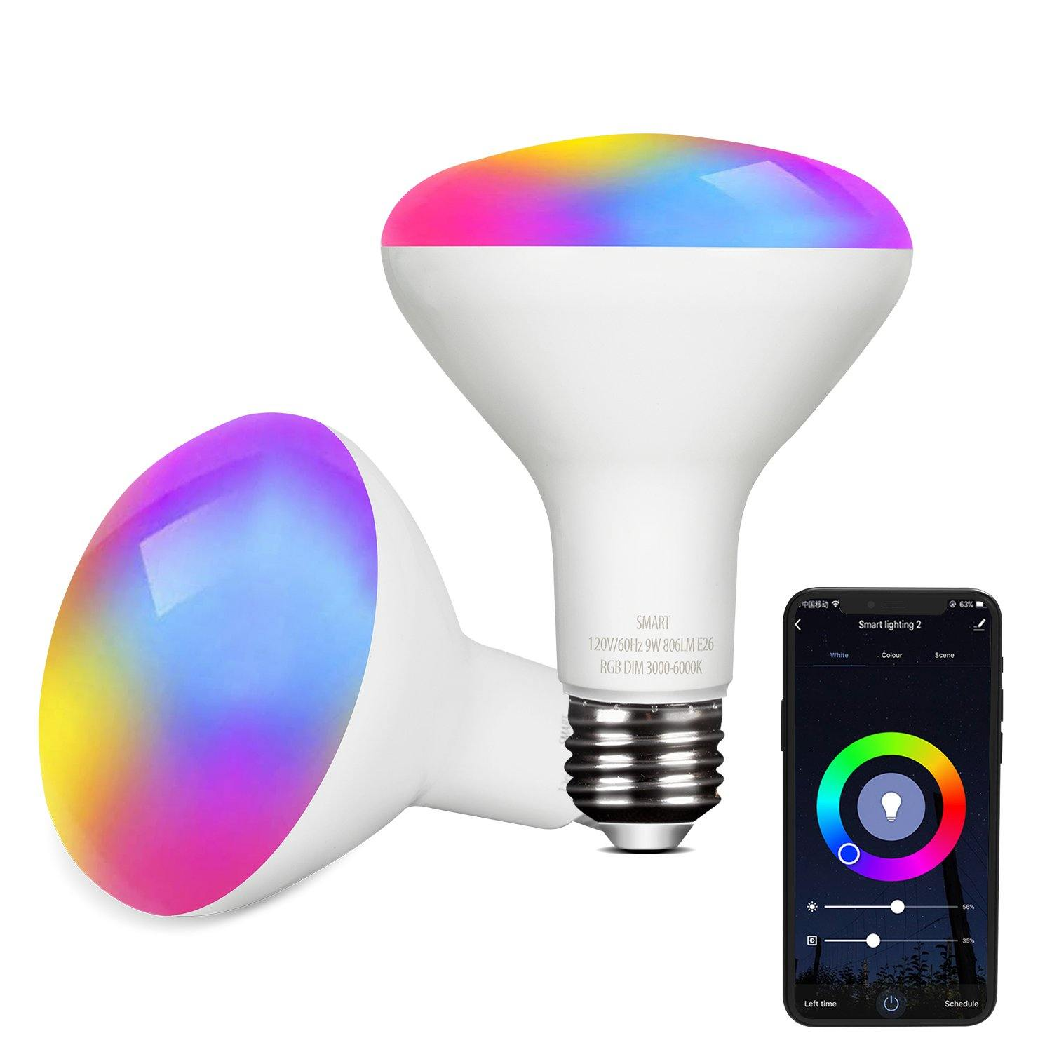 WiFi Smart Light Bulb (2 packs)-Compatible with Alexa and Google Assistant Color Changing Smart Bulbs 806lm Multicolor Dimmable 9W LED Lights Bulbs for Home, Party, Stage, Bar - Elecwish