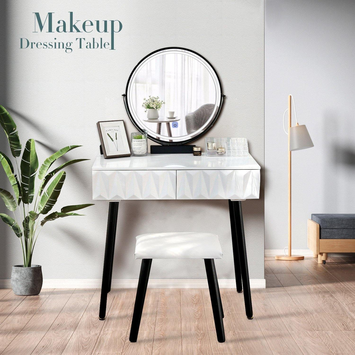 Vanity Table Set With Adjustable Brightness Mirror(White) - Elecwish