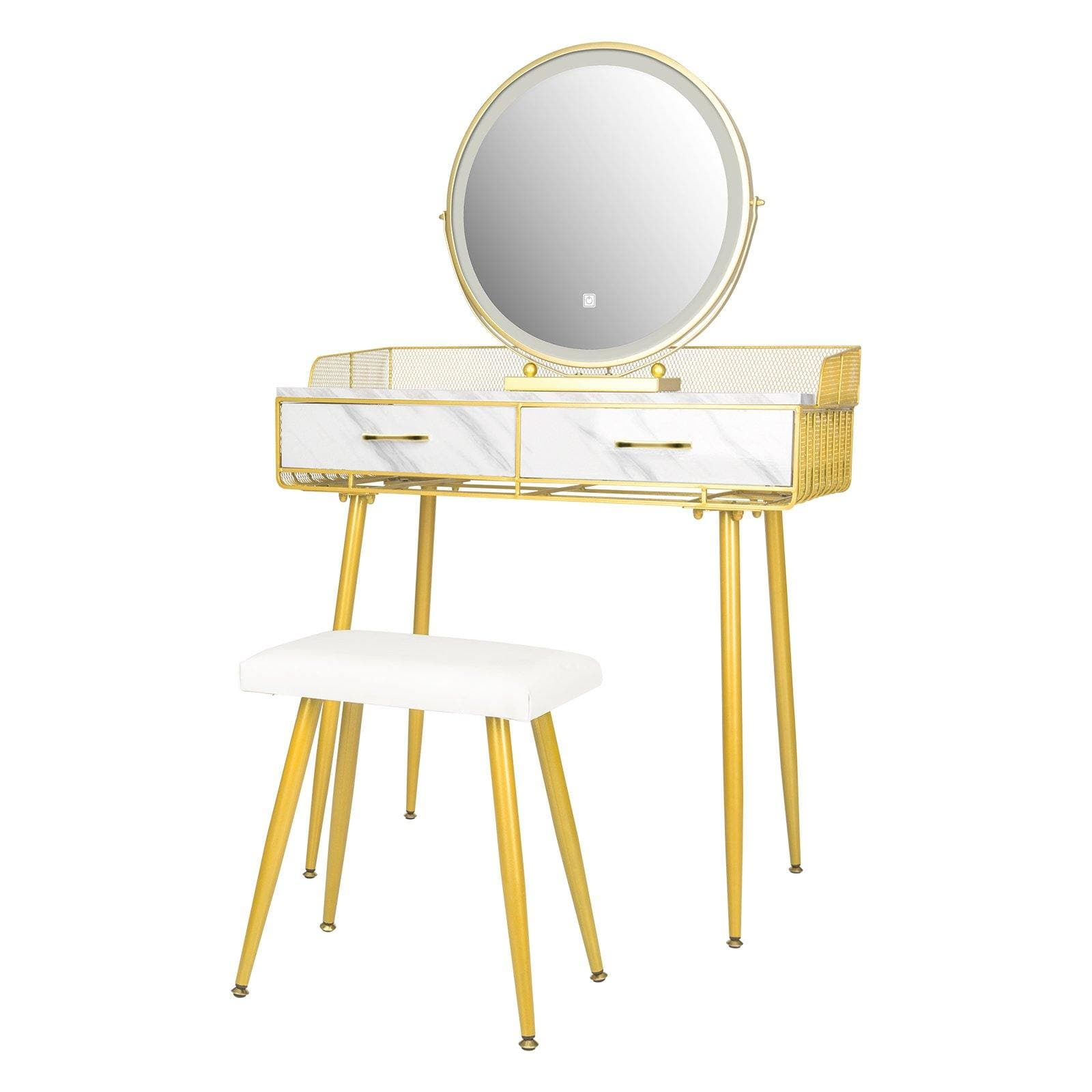 YOURLITE Faux Marble Makeup Vanity Table Set