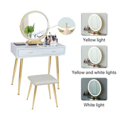 Vanity Table Set(Grey+Golden) - Elecwish