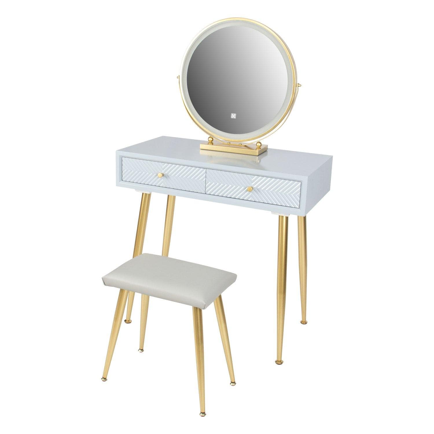 Vanity Table Set(Grey+Golden)