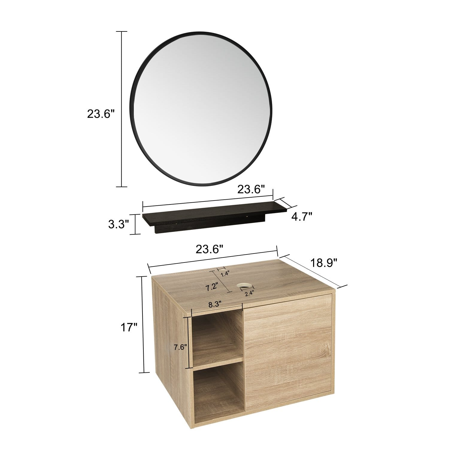 PULUOMIS Wall Mounted Bathroom Vanity