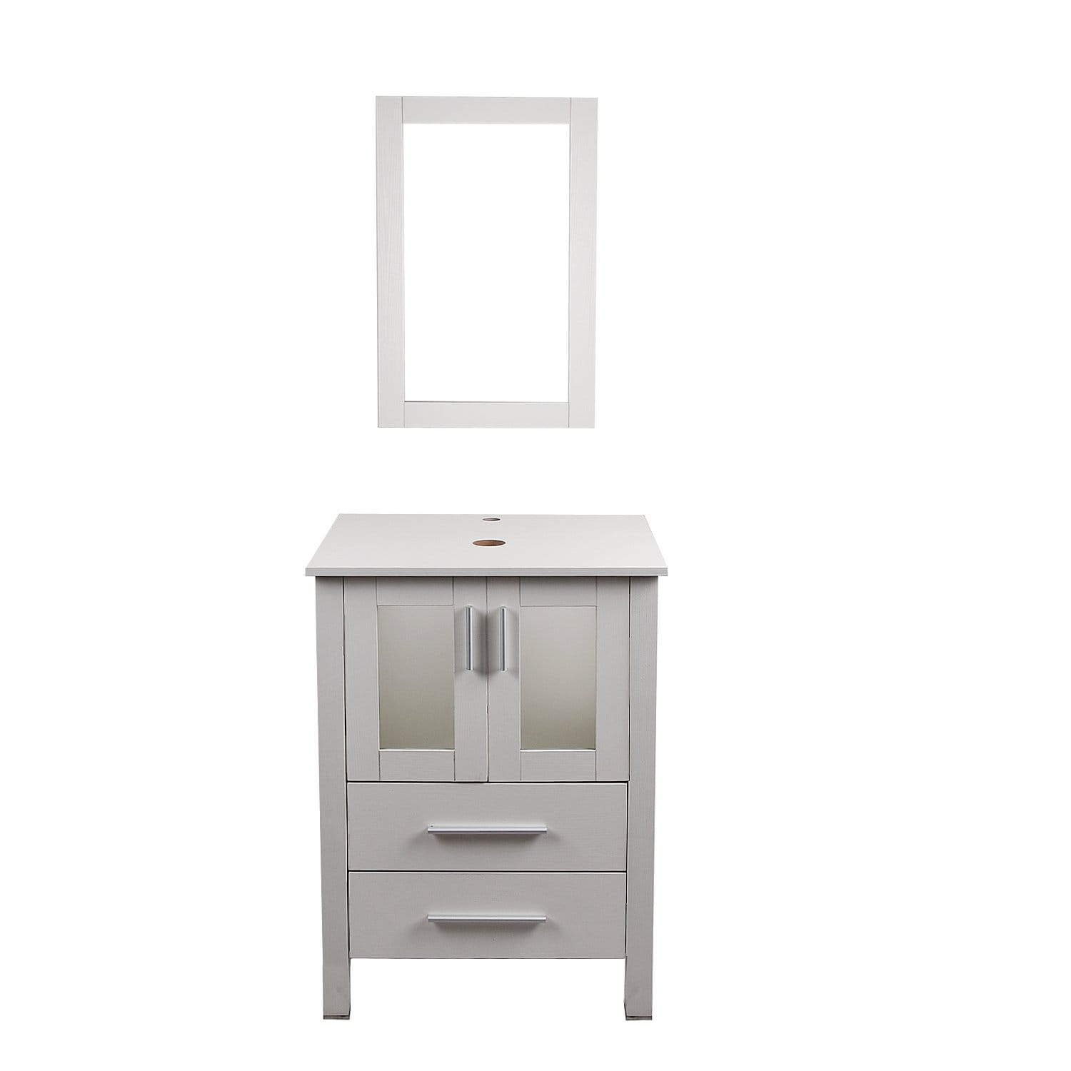 PULUOMIS  White Double-door And Double-drawer Vanity Set, Waterproof Classic Mirror,Modern and Stylish Design