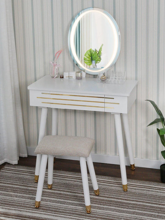 Vanity Table With LED Light Mirror(Gold-Edged)
