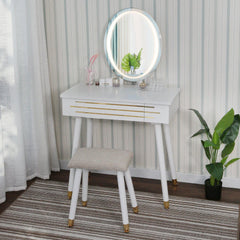 Vanity Table With LED Light Mirror(Gold-Edged)-3 Color LED Light Touch Oval Mirror and Cushioned Stool - Elecwish
