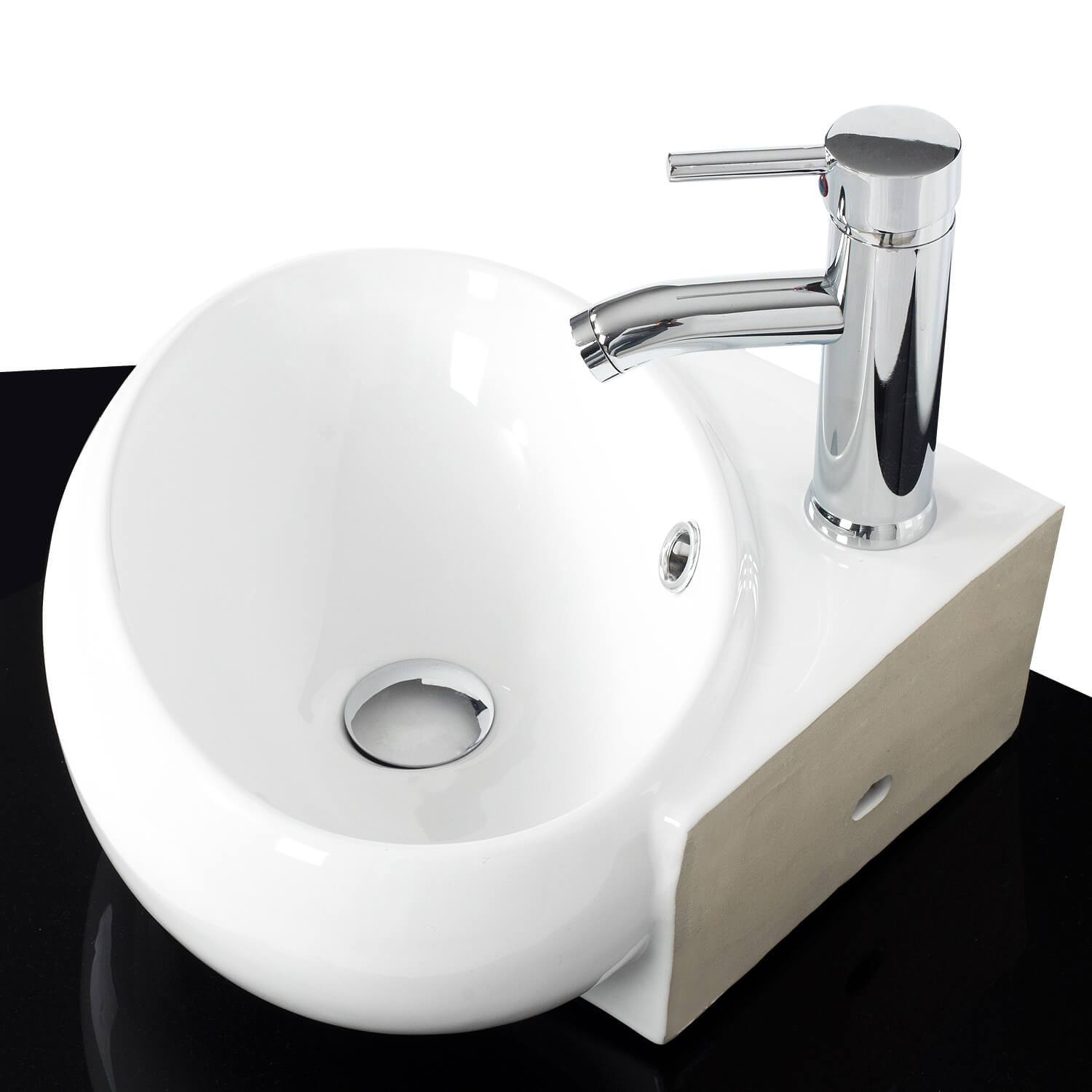 Puluomis White Ceramic Triangle Vessel Sink, Made of High Quality Ceramic, Easy to Assemble