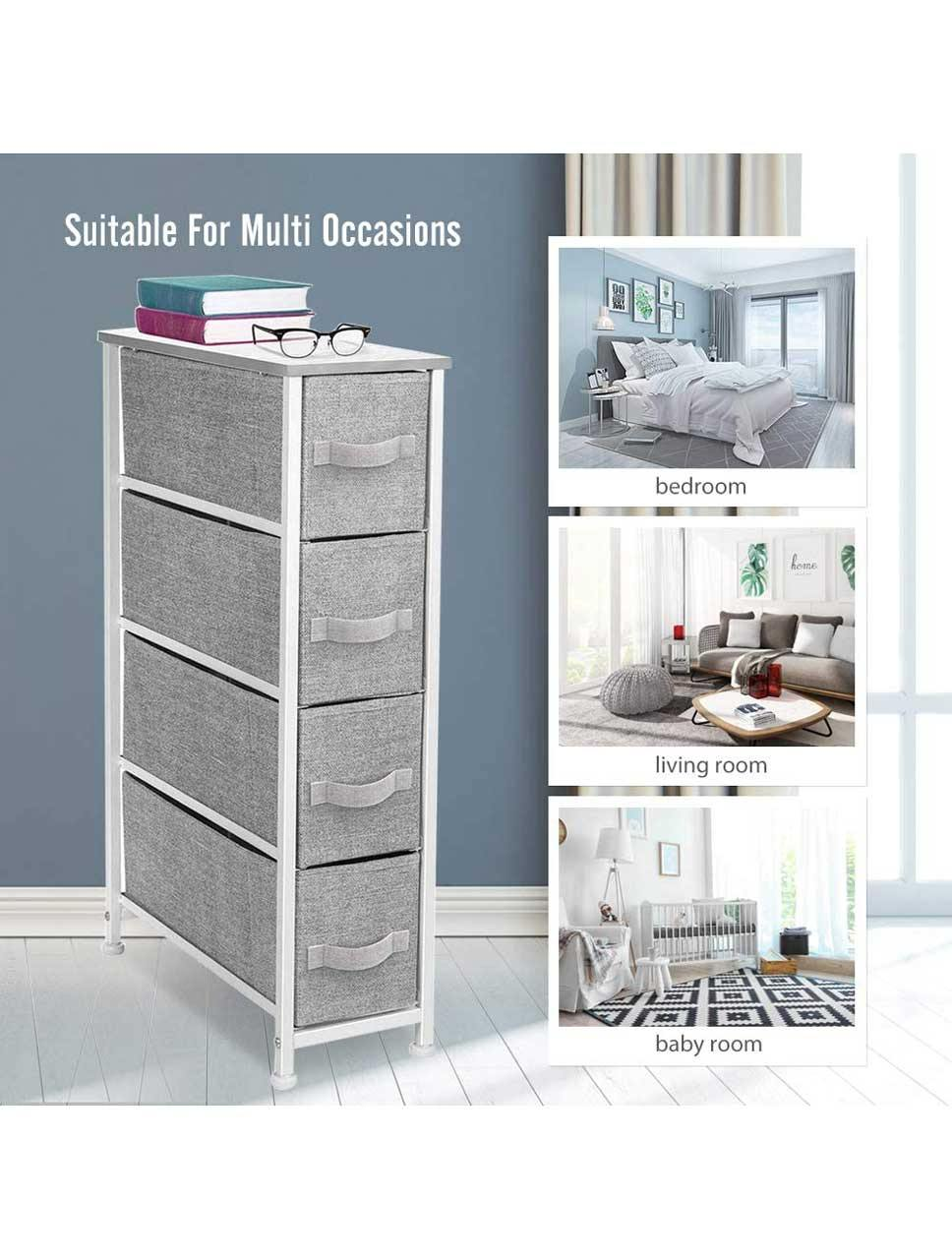 4-Drawer Fabric Dresser Storage Tower Organizer Unit