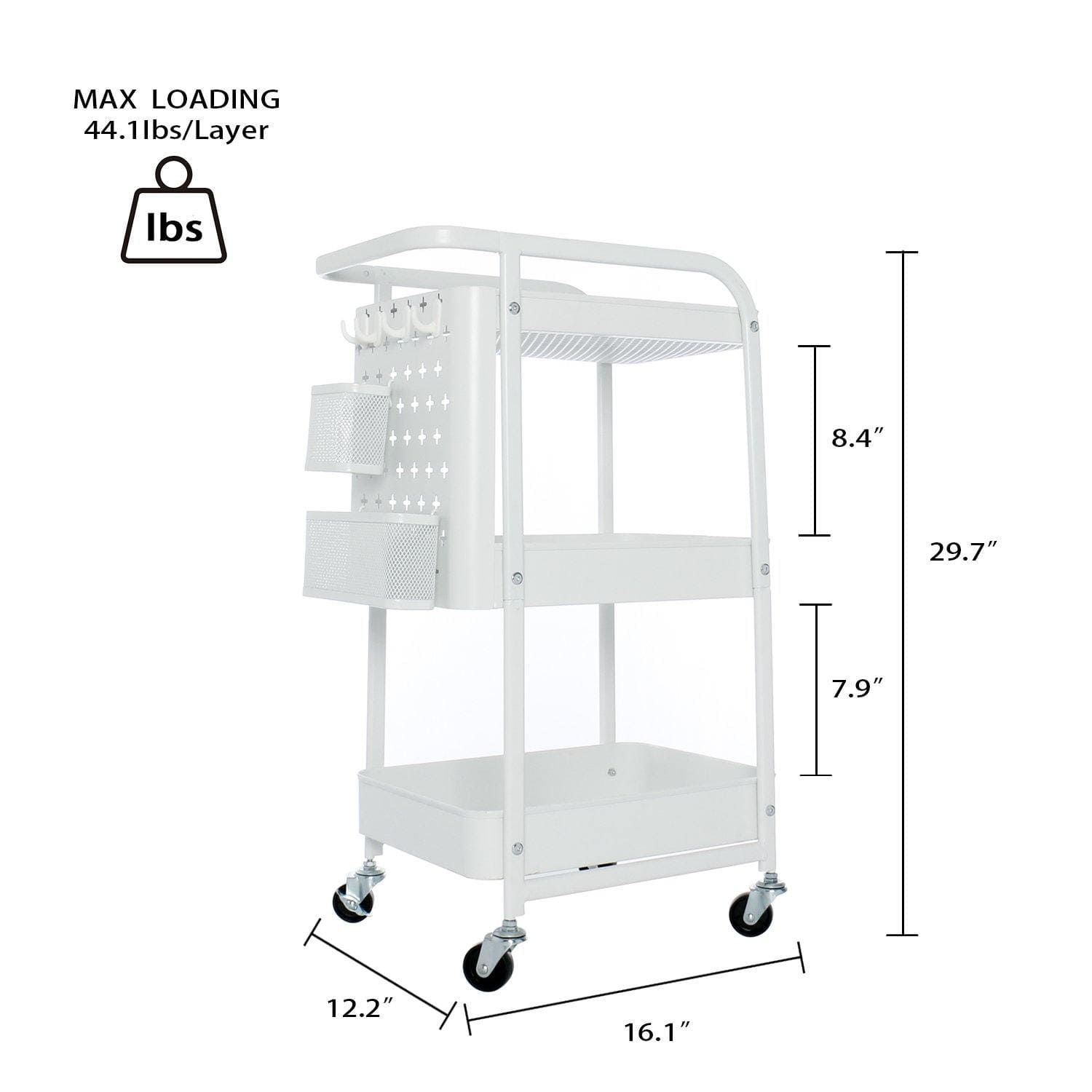 YOURLITE 3 Tier Metal Storage Utility Cart