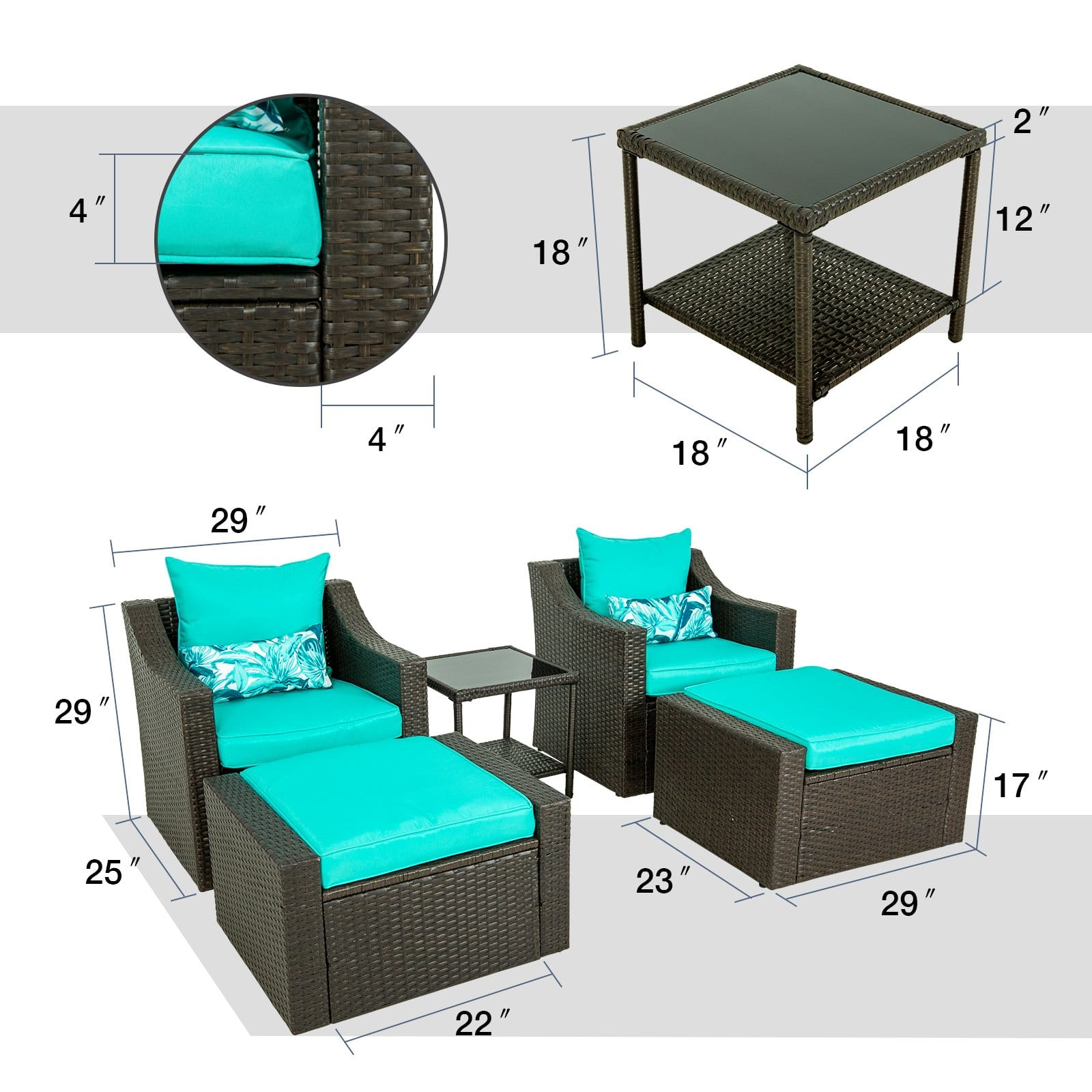 PULUOMIS 5 Piece Patio Furniture Set, Solid Material and Premium Cushion Covers, Widely Use