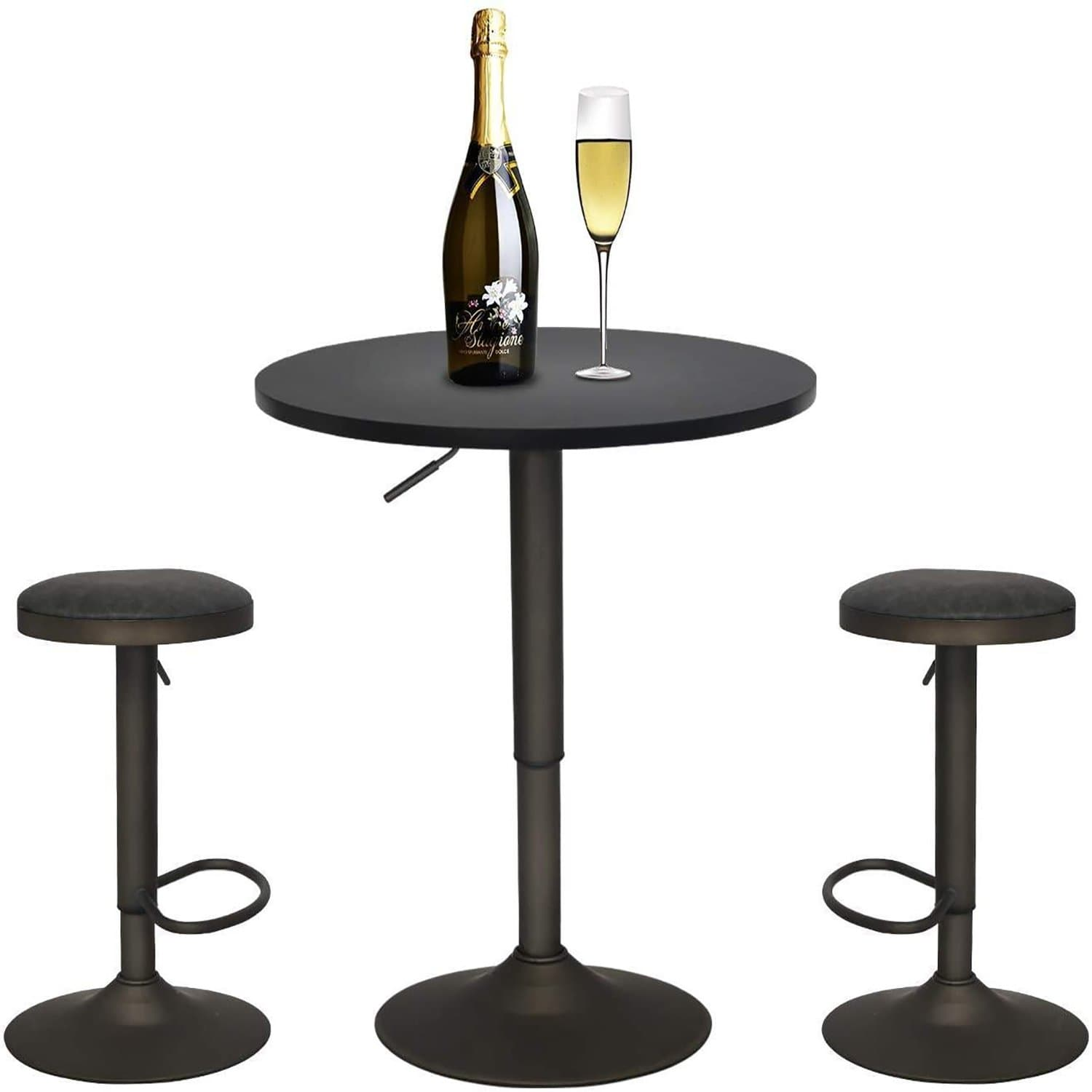 PULUOMIS  Black Bar Set With One Bar Table with 2 360-Degree Swivel & Adjustable Height stools