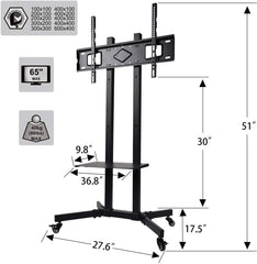 Height Adjustable Mobile TV Shelf - Elecwish