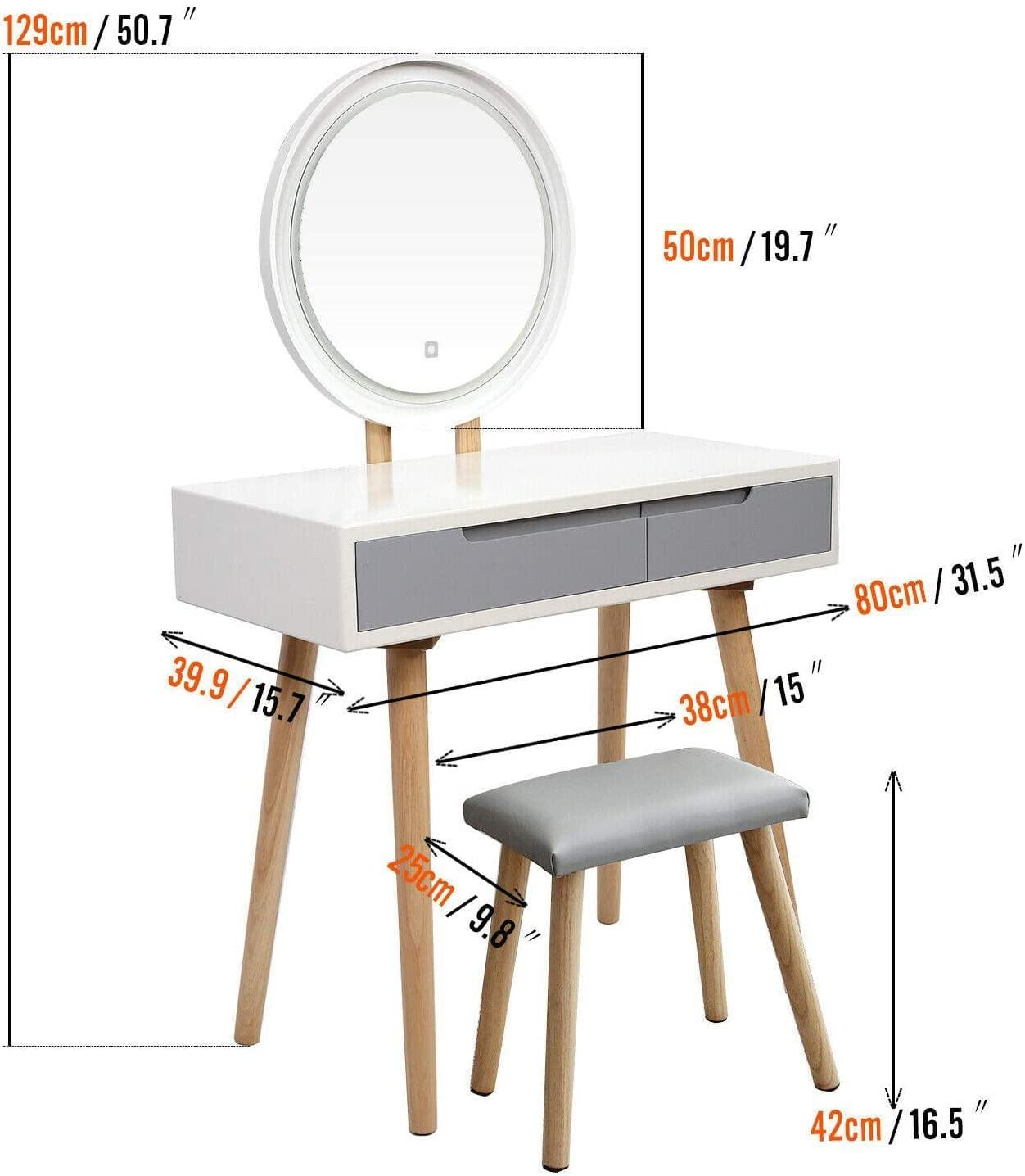 Gray Drawer Makeup Dressing Table With Round Mirror