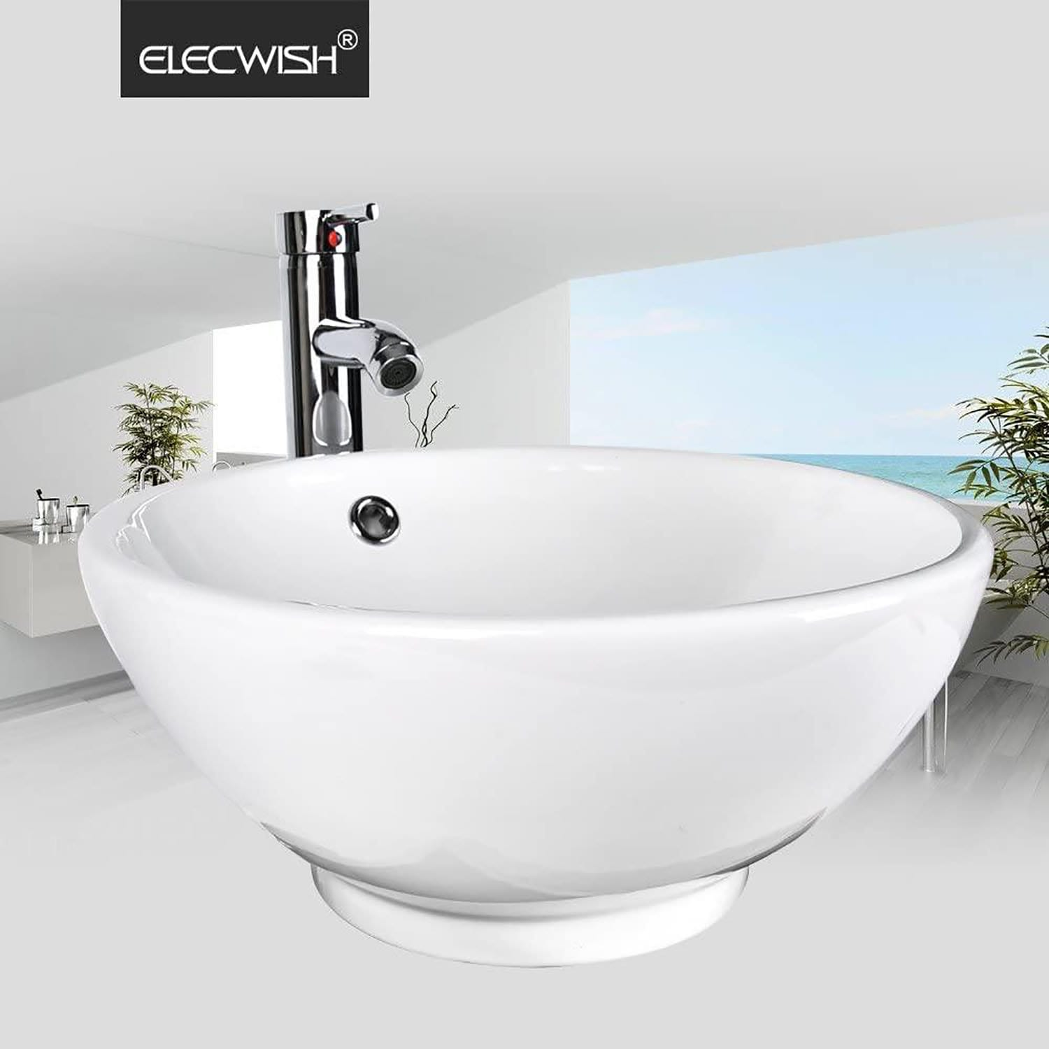 PULUOMIS  Round Ceramic Porcelain Bathroom Vessel Sink