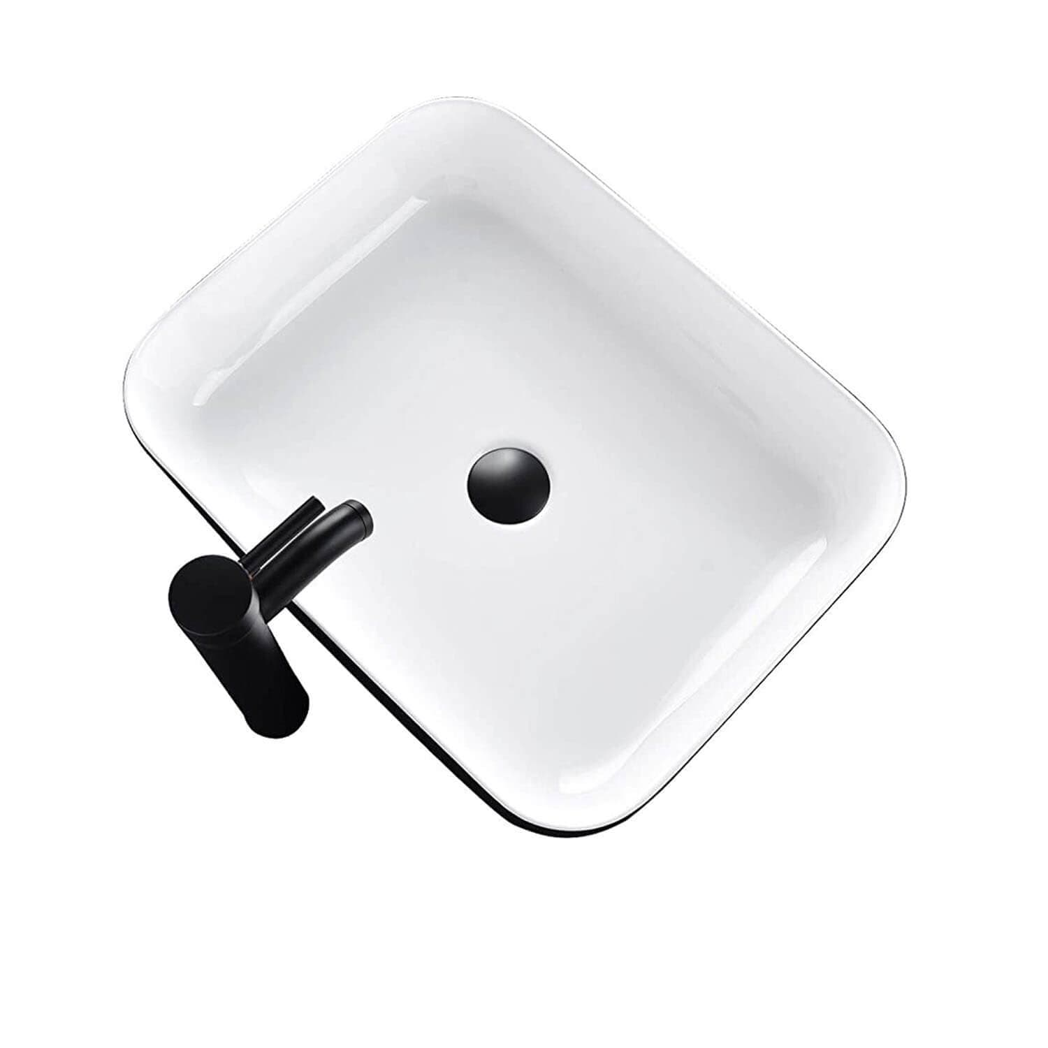 PULUOMIS Ceramic Vessel Sink And Faucet Combo(Black Side Edge)
