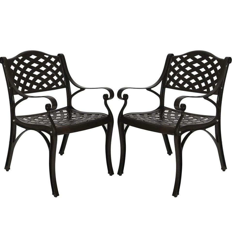 Antique Bronze Patio Aluminum Dining Chairs (2 Pieces) - Elecwish
