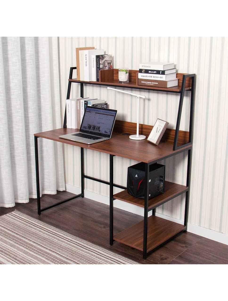 Computer Desk with Hutch and Bookshelf (Brown) - Elecwish