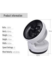 Foldable Quiet Air Circulator Fan With Adjustable Head and Timer Setting