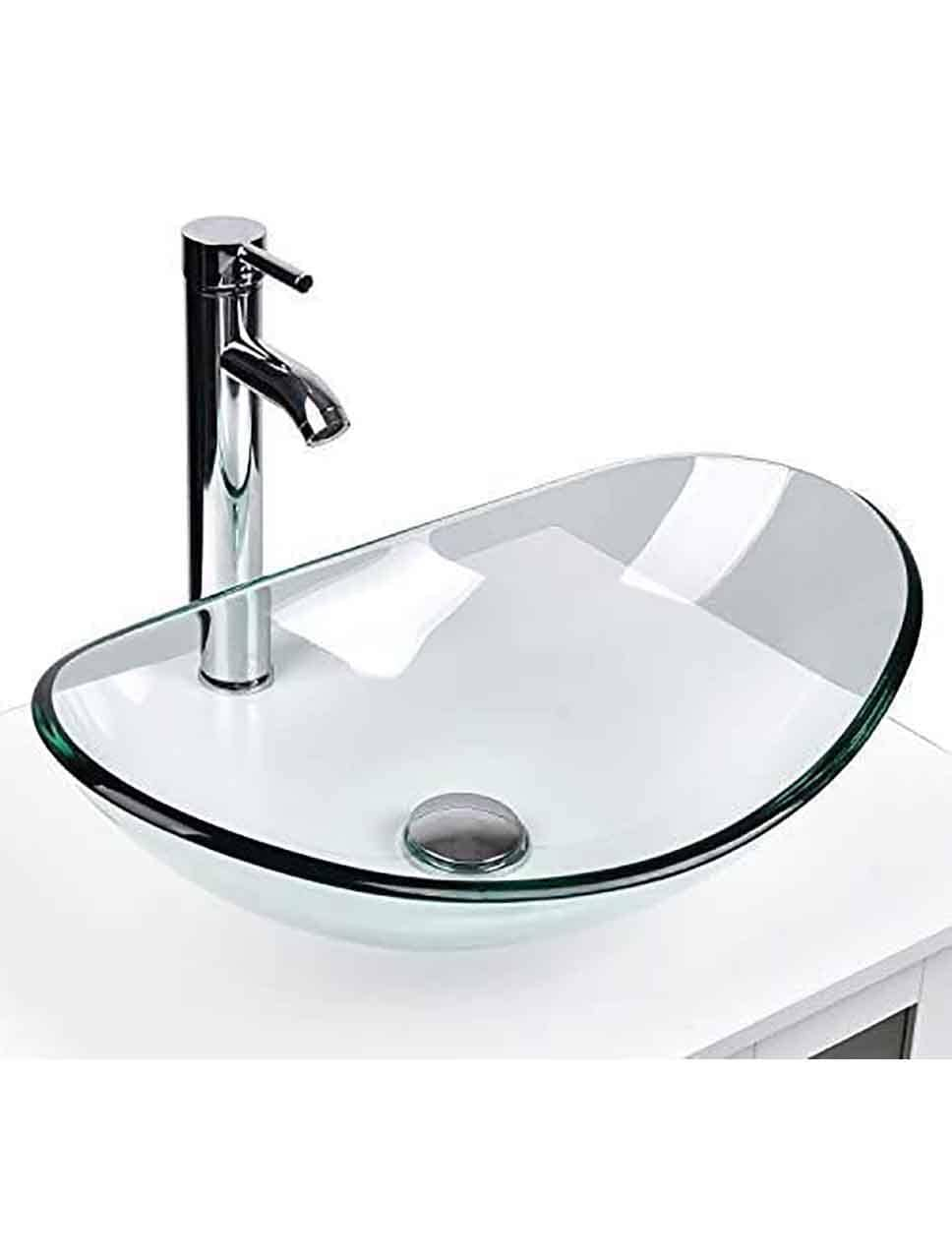 EUR Copy of Modern Light Tempered Glass Vessel Sink(Ingot Shape)
