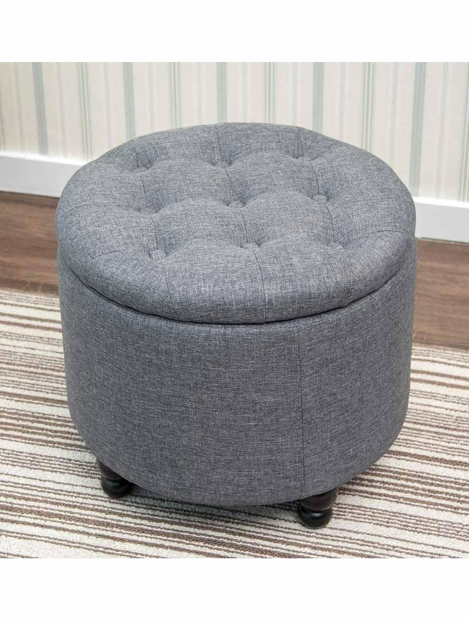 Modern Round Storage Ottomans (Fabric Cushion)