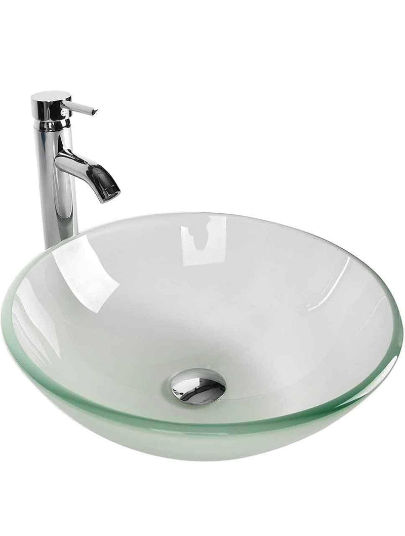 EUR Round Frosted Glass Bathroom Vessel Sink Combo