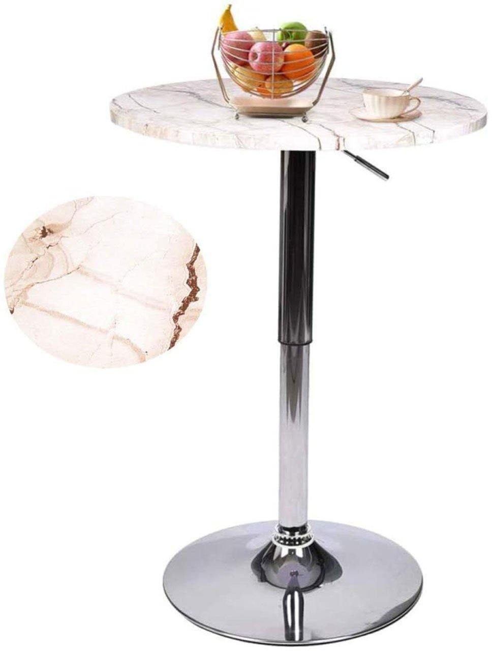 PULUOMIS  Marble Bar Set With highly durable Pub table, 360-Degree Swivel & Adjustable Height, Modern PU