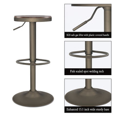 PULUOMIS 360 Degree Swivel Adjustable Bar Stool With Natual Wood&PU leather, Set of 2