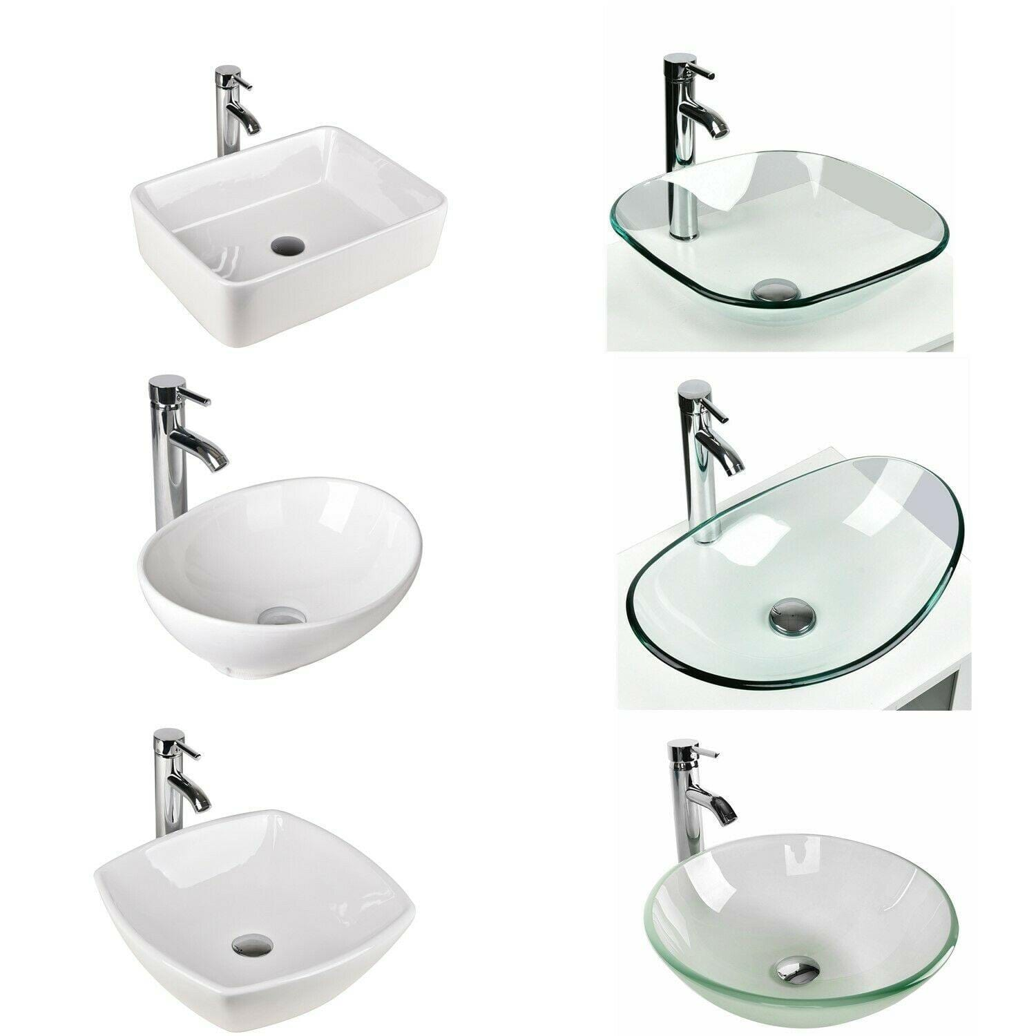 PULUOMIS  Bathroom Glass Ceramic Vessel Sink, Beautifully Coordinated Look and Easy-to-Clean