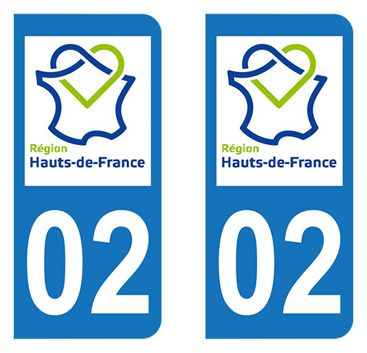 Sticker immatriculation 02 - Nouvelle région Hauts-de-France