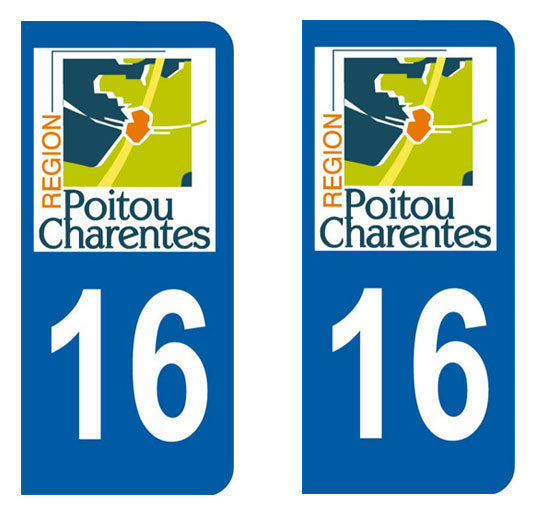 Sticker immatriculation 16 - Charente