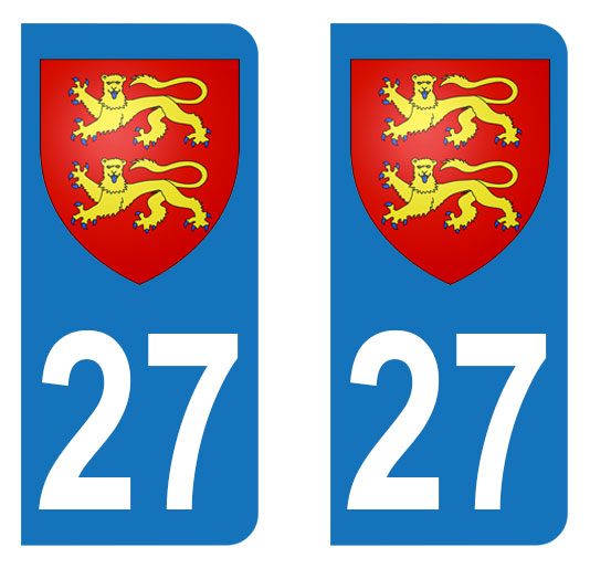 Sticker immatriculation 27 - Blason Normandie