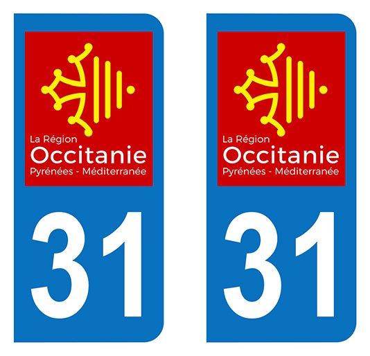 Sticker immatriculation 31 - Occitanie
