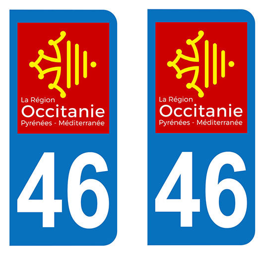 Sticker immatriculation 46 - Occitanie