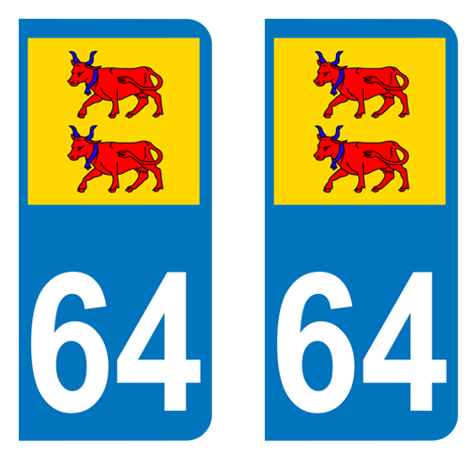 Sticker immatriculation 64 - Blason Béarn