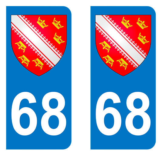 Sticker immatriculation 68 - Blason Alsace