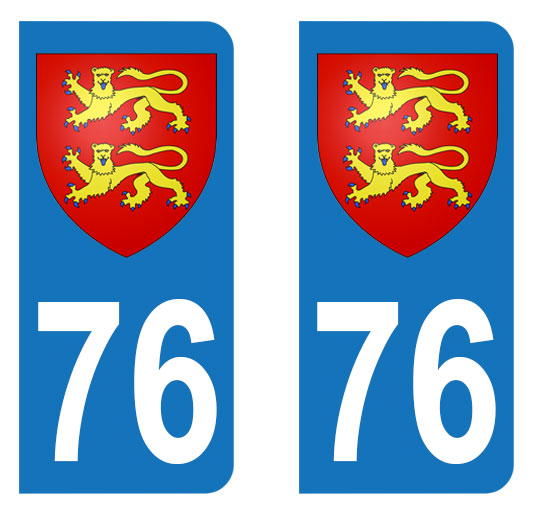 Sticker immatriculation 76 - Blason normand