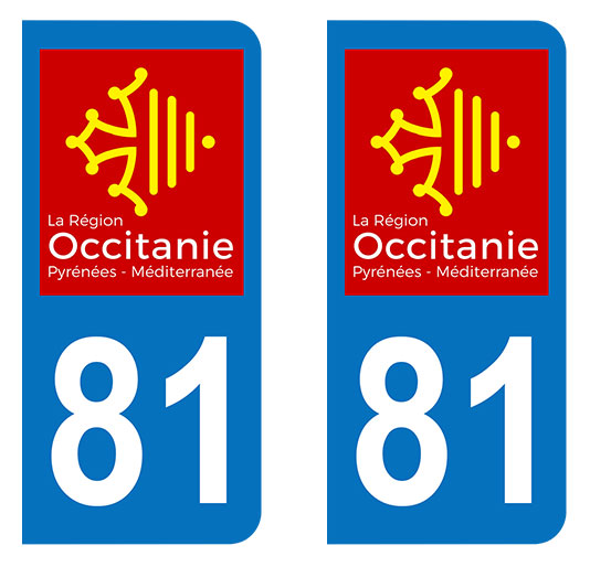Sticker immatriculation 81 - Occitanie