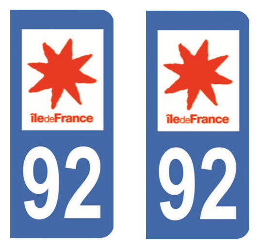 Sticker immatriculation 92 - Haut de seine